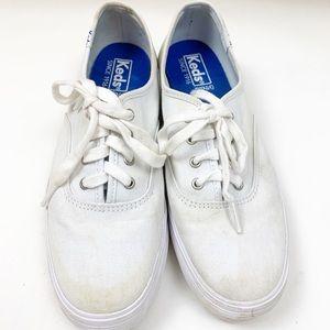 Keds White Canvas Platform Heeled Tennis Shoe 7.5